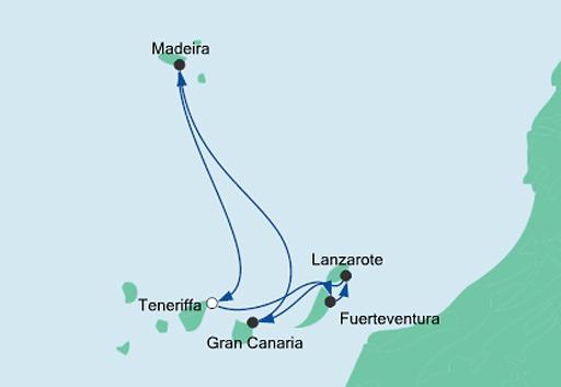 Mapa AIDAnova Wyspy Kanaryjskie