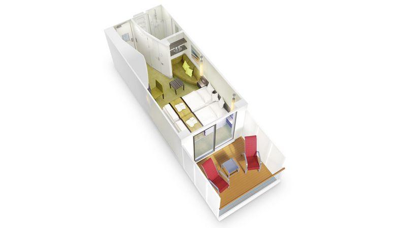 AIDAprima kabina z balkonem Panorama