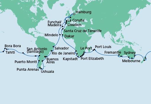mapa AIDAaura Dookoła Świata