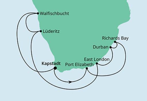 mapa AIDAaura Południowa Afryka i Namibia