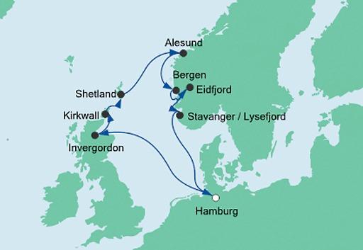 mapa AIDAaura Wyspy Nordyckie i Norwegia