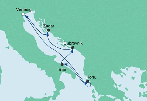 mapa AIDAblu Adriatyk
