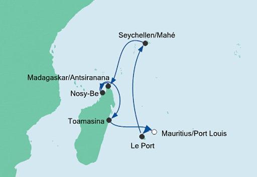 mapa AIDAblu Mauritius, Seszele i Madagaskar
