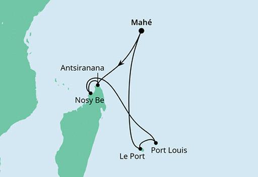 mapa AIDAblu rej Mauritius, Seszele i Madagaskar