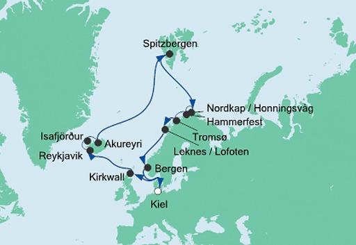 mapa AIDAluna Islandia i Przylądek Północny