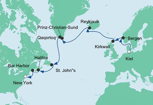 Mapa Z Kilonii do Nowego Jorku