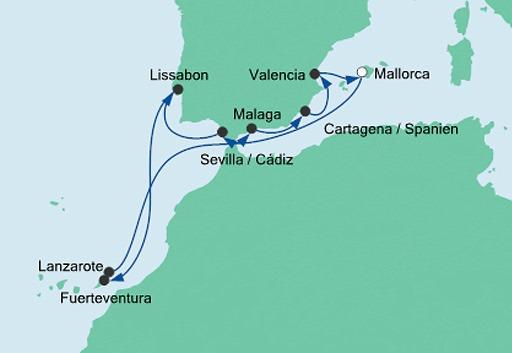mapa AIDAmar Hiszpania, Portugalia i Wyspy Kanaryjskie