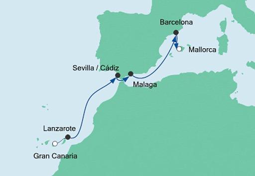 mapa AIDAnova z Gran Canarii na Majorkę