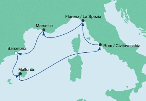 mapa AIDAnova Morze Śródziemne z Barcelony
