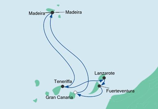 mapa AIDAnova Wyspy Kanaryjskie i Madera z Gran Canarii