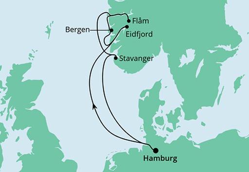 mapa AIDAperla Wybrzeże Norwegii