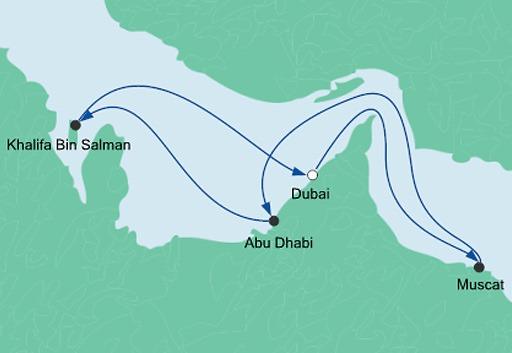 mapa AIDAprima Arabskie Noce z Dubaju