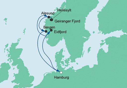 mapa AIDAsol Norweskie Fiordy