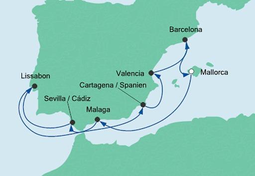 mapa AIDAstella Hiszpania i Portugalia