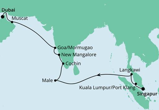 mapa AIDAvita rejs z Singapuru do Dubaju