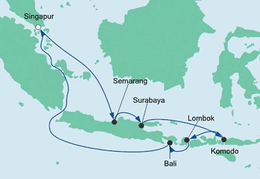 mapa AIDAvita Singapur i Indonezja