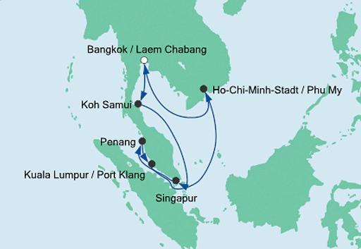 mapa AIDAbella Tajlandia, Malezja i Singapur 2