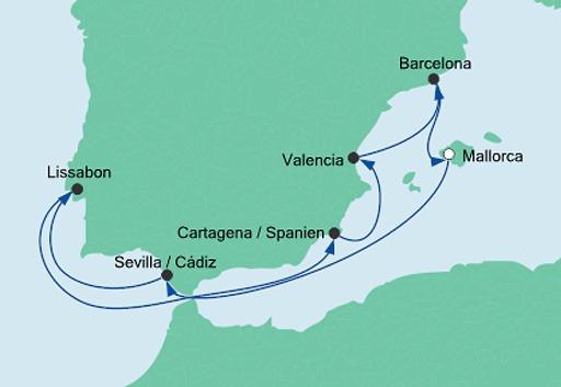 mapa AIDAmar Hiszpania i Portugalia 3