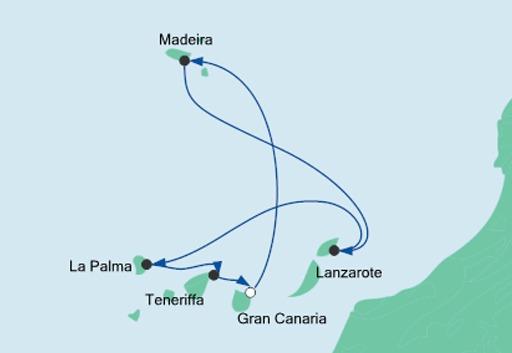 mapa AIDAstella Wyspy Kanaryjskie i Madera