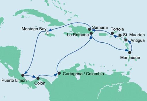 mapa AIDAdiva Karaiby i Ameryka Środkowa