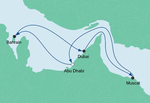 mapa AIDAprima Arabskie Noce z Abu Zabi