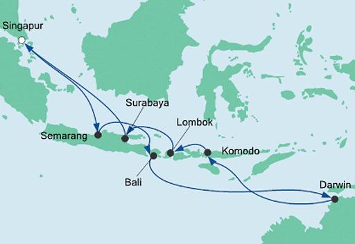 mapa AIDAvita rejs Australia i Indonezja