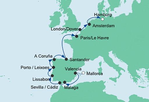 mapa AIDAsol z Majorki do Hamburga 2