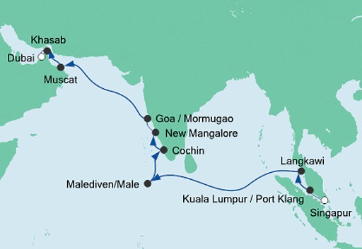mapa rejsu AIDAbella z Singapuru do Dubaju 1