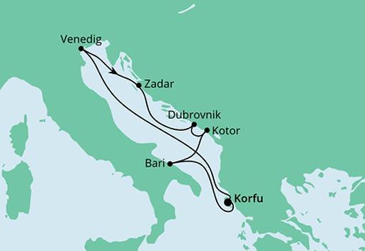 mapa AIDAblu rejs Morze Adriatyckie