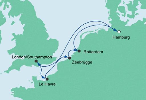 mapa AIDAmar Metropolie z Hamburga 1