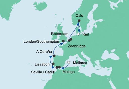 mapa AIDAprima z Majorki do Kilonii 2
