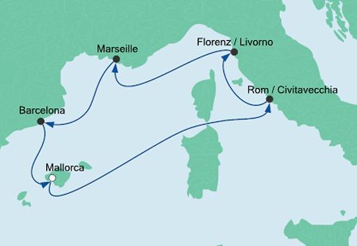 mapa AIDAsol Skarby Morza Śródziemnego