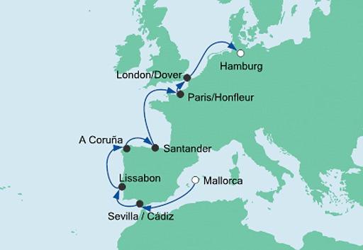 mapa AIDAvita z Majorki do Hamburga 5