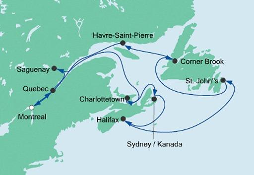 mapa rejsu AIDAvita Wschodnie Wybrzeże Kanady