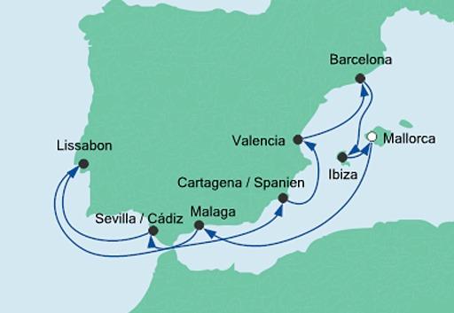 Mapa rejsu Hiszpania i Portugalia statkiem AIDAstella