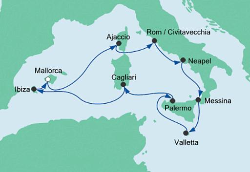 mapa rejsu statkiem AIDAstella Włochy i śródziemnomorskie wyspy