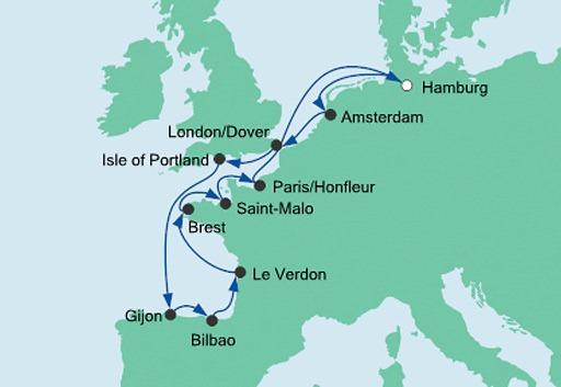 mapa AODAaura rejs Zatoka Biskajska
