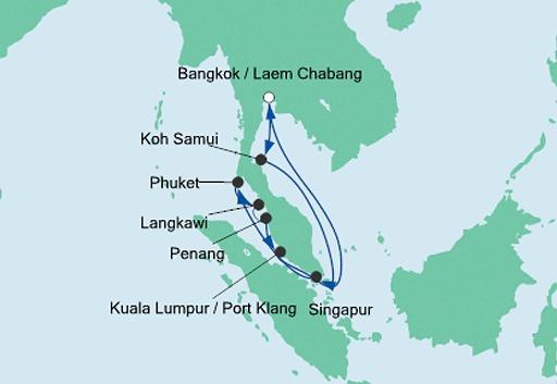 mapa AIDAbella rejs Tajlandia, Malezja i Singapur 3