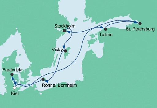 mapa AIDAcara rejs Skarby Morza Bałtyckiego