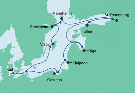 mapa AIDAcara rejs Wielka Podróż po Bałtyku