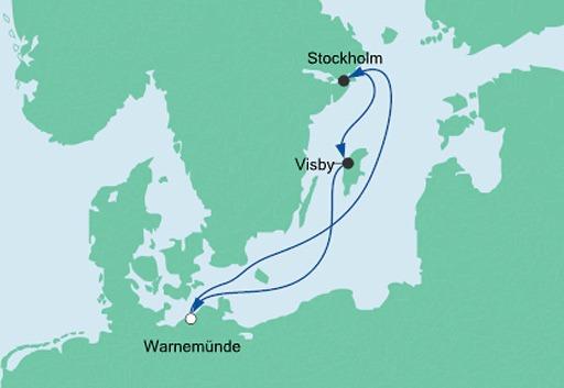 mapa AIDAdiva Szwecja mini rejs