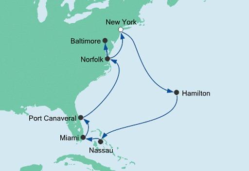 mapa AIDAluna rejs Nowy Jork, Floryda i Karaiby