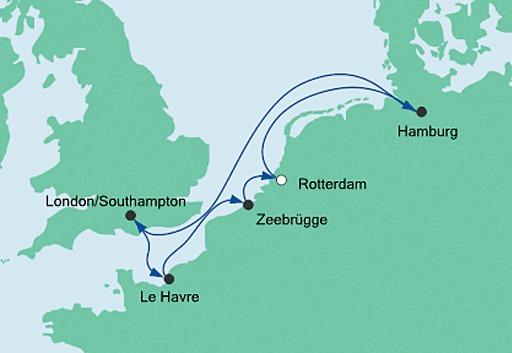 mapa AIDAmar rejs Metropolie z Rotterdamu