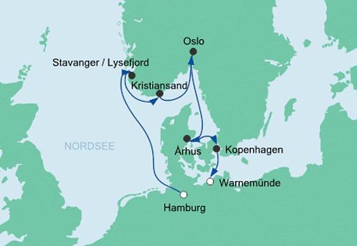 mapa AIDAmar rejs Skandynawskie Miasta