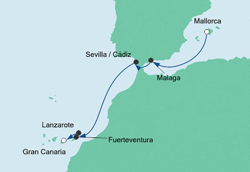 mapa AIDAnova rejs z Majorki na Gran Canarię