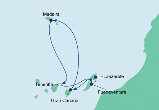 mapa AIDAnova rejs Wyspy Kanaryjskie i Madera 4