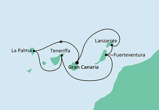 mapa AIDAperla rejs Wyspy Kanaryjskie