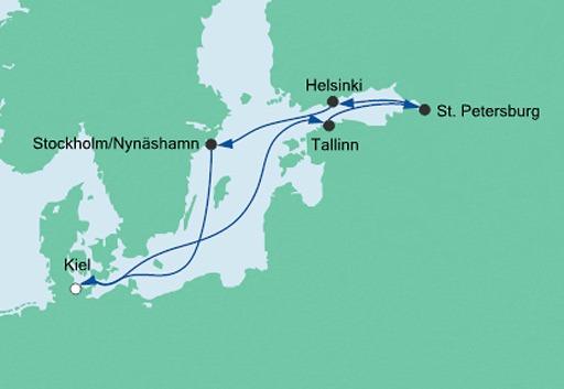 mapa AIDAprima rejs Perły Bałtyku