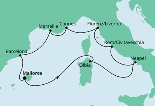 mapa AIDAstella Śródziemnomorska Mozaika