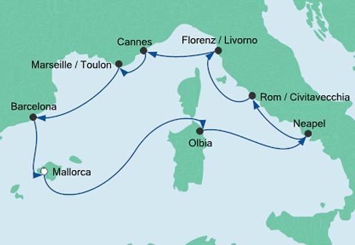 mapa AIDAstella rejs Śródziemnomorska Mozaika